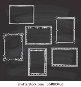 Vintage Photo Frame In Doodle Style On Chalkboard Background