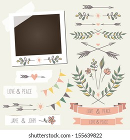 Vintage photo frame with flowers,laurels, wreaths,flags,arrows,hearts,stickers and other scrap elements, mix and match elements with photo frame