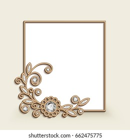 Vintage photo frame with gold corner decoration, floral jewelry vignette with diamonds, wedding announcement or invitation card design, eps10 vector illustration