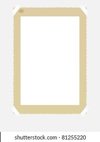 vintage photo frame, mounted with photo corners, vector