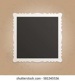 Vintage Photo frame in realistic style. Blank old photo with shadow isolated on retro background.  Vector illustration. EPS 10.