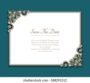 Vintage photo frame, save the date card with jewelry corner patterns, vector gold decoration with diamonds and emerald gems, wedding announcement or invitation template, eps10