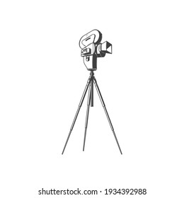 Vintage photocamera on tripod isolated movie making equipment monochrome icon. Vector retro cinematography device, antique photo or video camera on stand. Film projector, cinema recording device