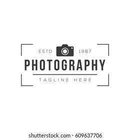 Vintage photography logo design template