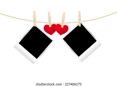 Vintage photos frame on the clothespin with hearts. Vector illustration.