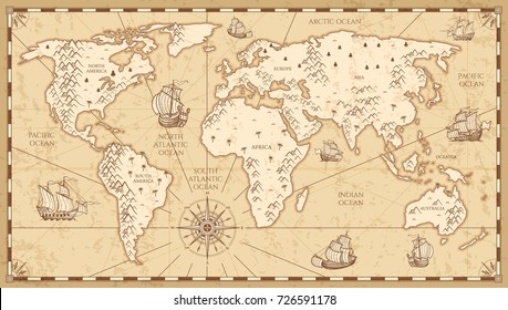 Antique map images stock photos vectors shutterstock vintage physical world map with rivers and mountains vector illustration retro vintage old world map gumiabroncs