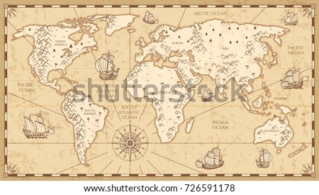 Vintage Physical World Map Rivers Mountains Stock Vector Royalty