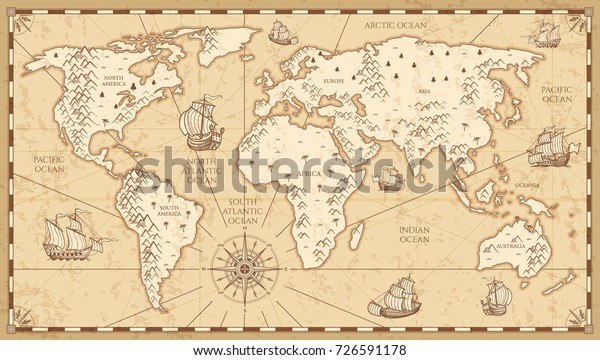 Vintage Physical World Map Rivers Mountains Stock ...
