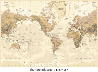 Vintage Physical World Map-America Centered-Colors of Brown. Vector illustration.