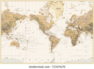 Vintage Physical World Map-America Centered-Colors of Brown. No bathymetry. Vector illustration.