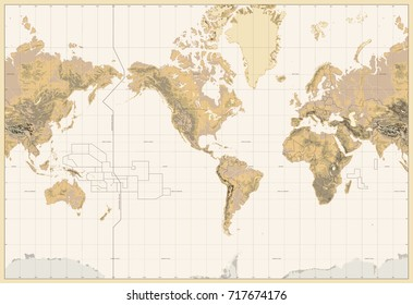 Vintage Physical World Map-America Centered-Colors of Brown. No bathymetry and text. Vector illustration.