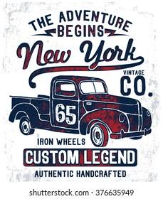 Vintage pick up illustration , vectors.