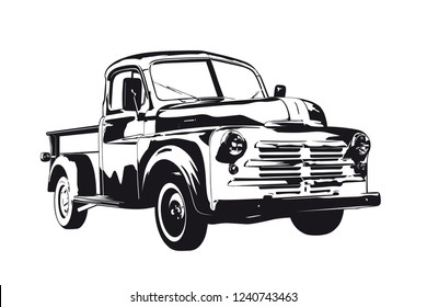 Vintage pickup truck silhouette vector illustration