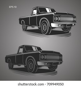 Vintage pickup truck vector illustration. Oldschool american car