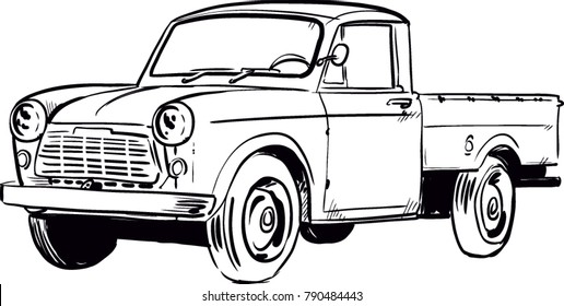 Vintage pickup truck vector illustration. Line art retro american car
