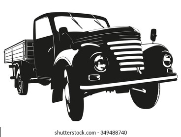 Vintage Pickup Truck Vector Silhouette Illustration