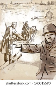 Vintage picture from the series: World between 1905-1949 /// Operation Barbarossa - the largest military operation in history /// A hand drawn illustration converted into vector (3 layers)