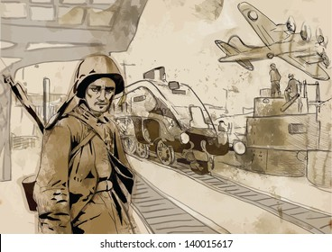 Vintage picture from the series: World between 1905-1949 /// Operation Overlord - The Western Allies - Soldier at the railway station /// A hand drawn illustration converted into vector (3 layers)
