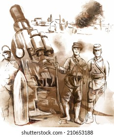 Vintage picture from the series: World between 1905-1949. Soldiers posing in front of a large Howitzer (Mortar). An hand drawn vector illustration (converted).