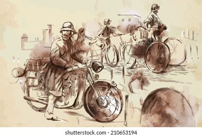 Vintage picture from the series: World between 1905-1949. Soldiers on bicycle and a soldier on a motorcycle (military front in the country). An hand drawn vector illustration (converted).