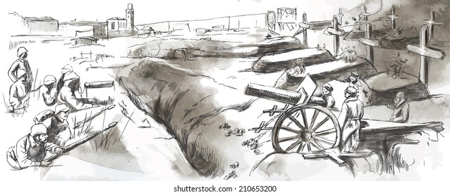 Vintage picture from the series: World between 1905-1949. The fighting in the trenches. An hand drawn vector illustration (converted).