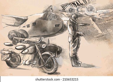 Vintage picture from the series: World between 1905-1949. At the airport - a soldier on a motorcycle between aircraft. An hand drawn vector illustration (converted).