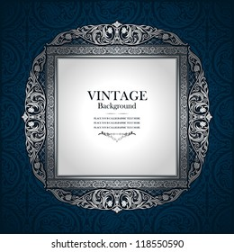 Vintage picture wall frame wall, damask background, antique, victorian silver ornament, baroque blue old paper, card, ornate cover page, label, floral luxury pattern template concept design image idea