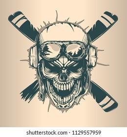 Vintage pilot skull, monochrome hand drawn tattoo style