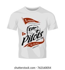 Vintage pilots custom bikes motor club vector logo on white t-shirt mock up. Premium quality bikers band logotype tee-shirt emblem illustration. Street wear retro eagle mascot tee print design.