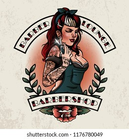 vintage pin up girl barbershop