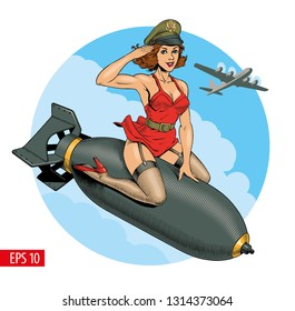 Pin Up Girl Riding Bomb patch