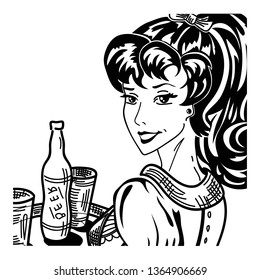 Vintage pin up waitress portrait in apron with tray serving beer bottle and glasses retro lady in pop art 1950's style black and white comics character smiling vector illustration close up on white