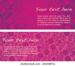 Vintage pink classical oriental lotus pattern horizontal banners with space for text
