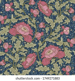 Vintage pink flowers on a dark blue background. Seamless pattern in the Victorian style.