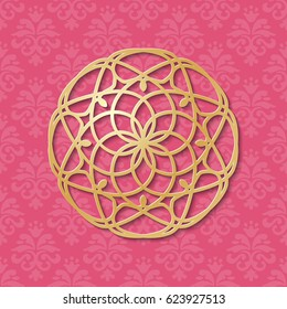 Vintage pink ornate background with 3d golden lacy circular decoration. Invitation or greeting card design template. Paper cut simple mandala pattern. Laser cutting element. Vector illustration