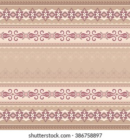 Vintage pink red seamless border on beige background. Colored element for design in Eastern style. Vintage pattern for invitations, greeting cards, wallpaper. Traditional floral decor. Pattern fill.