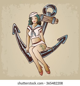 Vintage pinup sailor girl sitting on an anchor