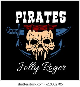 Vintage Pirate Labels or Design Elements. Fits Perfect for a T-shirt Design, Logos so on. Isolated Vector Illustration on black background