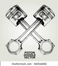 VINTAGE PISTON SKETCH OR ELEMENT DESIGN ISOLATED