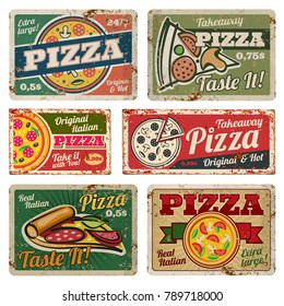 Vintage pizza metal signs with grunge texture vector set. Retro food posters in 50s style. Banner pizza food grunge style, poster vintage for restaurant pizzeria illustration
