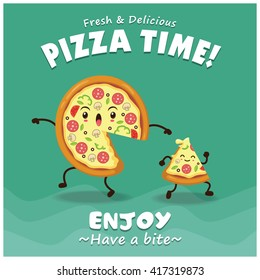 Vintage Pizza poster design with vector pizza character.
