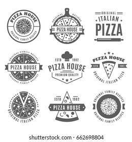 Vintage pizzeria design elements, Pizza house emblems, symbols, icons, italian food labels, badges collection. Business signs logo template, restaurant logotype identity objects.
