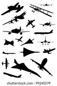Vintage Plane Silhouette Set