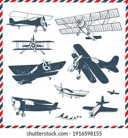 Vintage Planes and Airplanes Hand Drawn Illustrations Vector Set