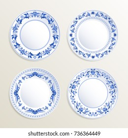 Vintage plates painted at gzhel style. Vector pictures of russian dishes. Illustration of vintage gzhel plate floral