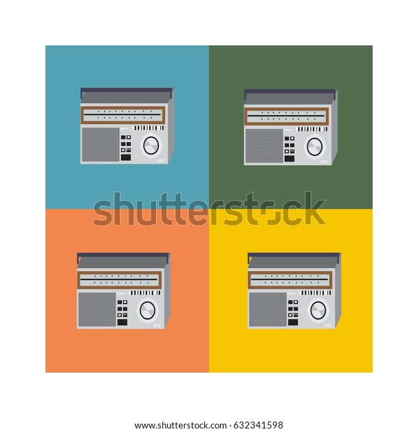 vintage player, old technique on four colorful backgrounds, abstraction about old music, old record player