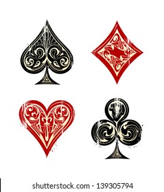 Vintage Playing Cards Symbols Set. Vector illustration.