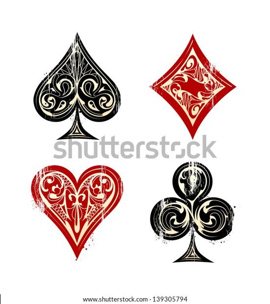 Vintage Playing Cards Symbols Set. Vector illustration.