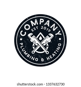 Vintage Plumbing and heating logo template - vector