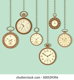 Vintage pocket watch hanging flat vector illustration